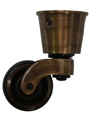 Antique Castor Round Cup with Double Rubber Tyre - 32mm