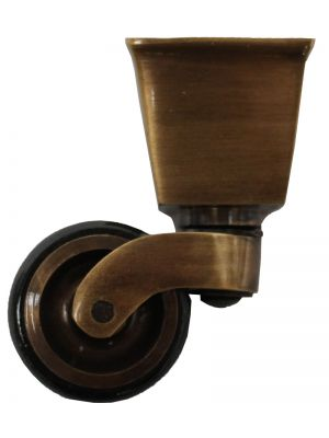 Antique Castor Square Cup with Double Rubber Tyre - 25mm