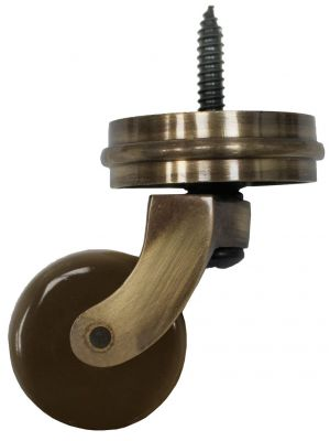 Antique Screw Castor with Brown Ceramic Wheel and Round Embellisher 38mm