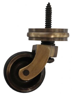 Antique Screw Castor with Double Rubber Tyre and Round Embellisher 32mm