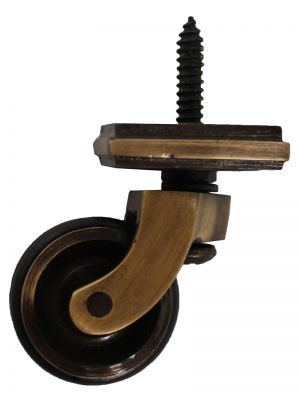 Antique Screw Castor with Double Rubber Tyre and Square Embellisher 32mm